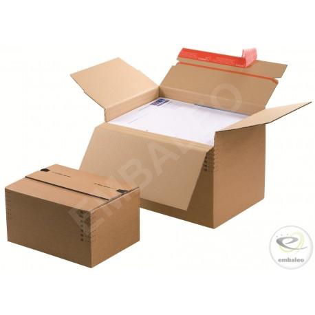 Caja de cartón de altura variable 22,9 X 16,4 cm con banda adhesiva