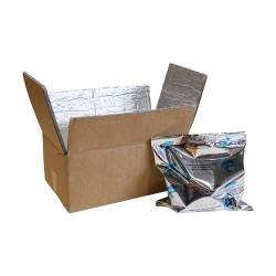 Boite carton isotherme 48h avec film mousse et aluminium 23 x 12 x 9,5 cm