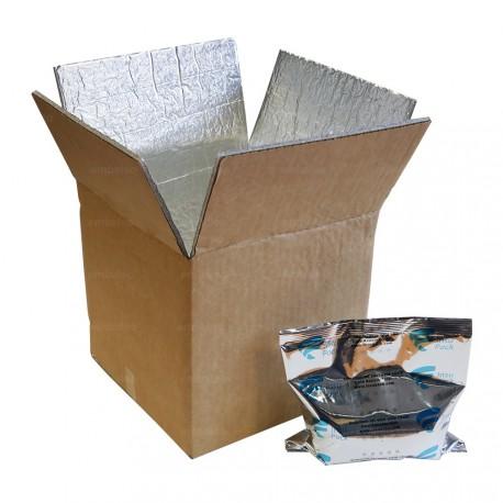 Boite carton isotherme avec film mousse et aluminium